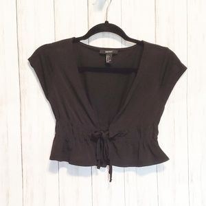 Forever 21 Black Tie Front Top